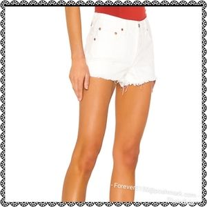 NEW Levi Button Fly 501 Hi Waist Distressed Shorts